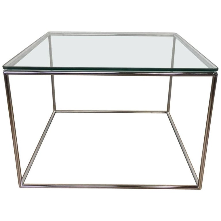 Milo Baughman Square Glass and Steel Side Table