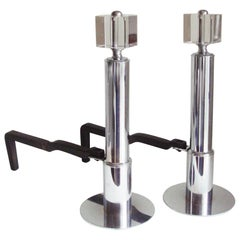 Pair of American Art Deco Chrome, Glass and Forged Iron Geometric Andirons