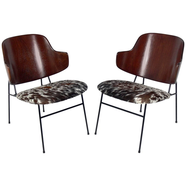 Danish Modern Cowhide Lounge Chairs by Ib Kofod-Larsen