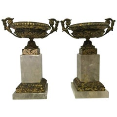 Italian Neoclassical Style Pair of Rock Crystal and Bronze Tazzas