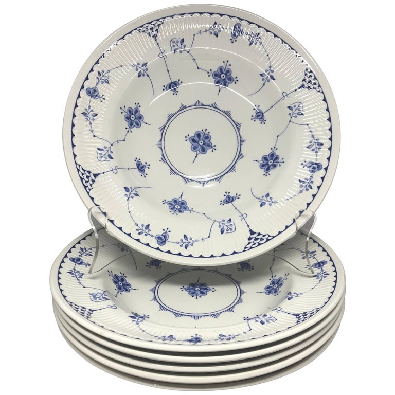 Set of Six Blue and White English Plates