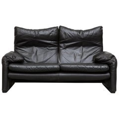 """Maralunga"" Black Leather Loveseat by Vico Magistretti for Cassina"