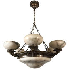 Large & Top Quality Neoclassical Alabaster and Bronze Light Fixture / Chandelier