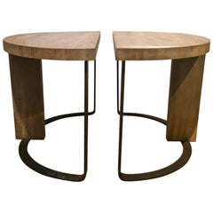 Pair of Wood and Steel Demilune Side Tables, Newly Refinished