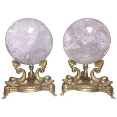 Pair of Neoclassical Rock Crystal Spheres on Bronze Bases
