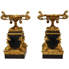 Pair of French Bronze and Slate Tazzae