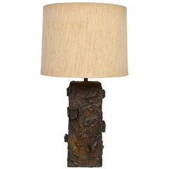 Paul Evans Sculpted Bronze Resin Relief Brutalist Table Lamp, Early 1960s