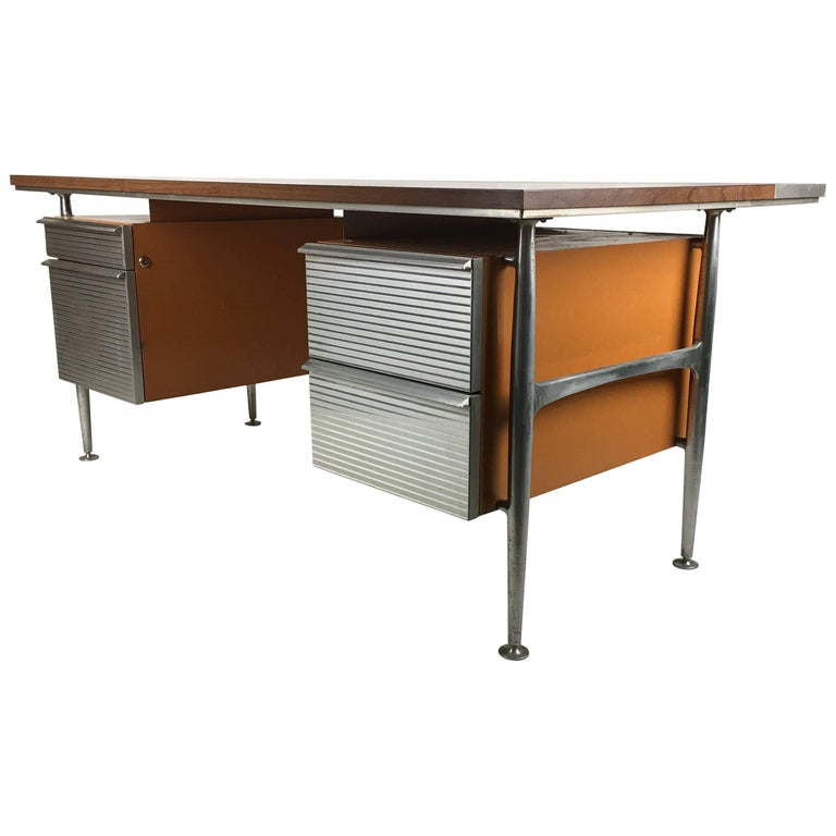 Iconic Modernist Executive Desk by Welton Becket For Sale