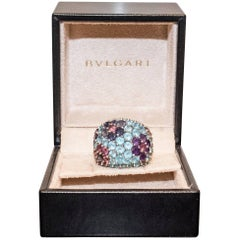 Pasquele Bruni Amethyst Aquamarine, Rose of France and White Gold Italian Ring