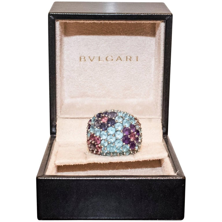 Pasquele Bruni Amethyst Aquamarine, Rose of France and White Gold Italian Ring  For Sale
