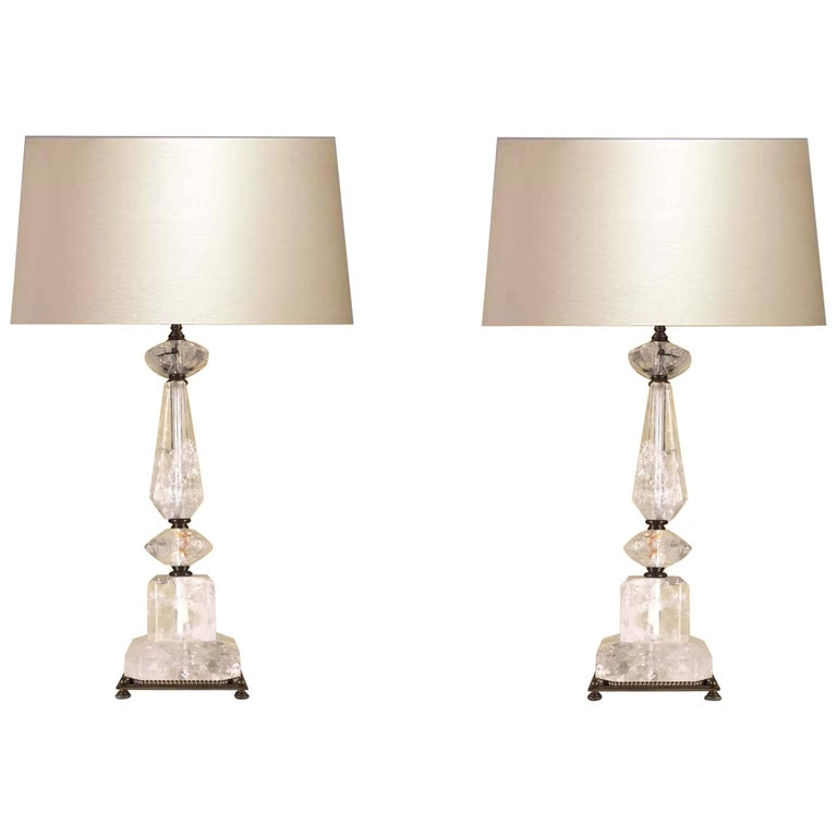 Pair of Rock Crystal table lamps.