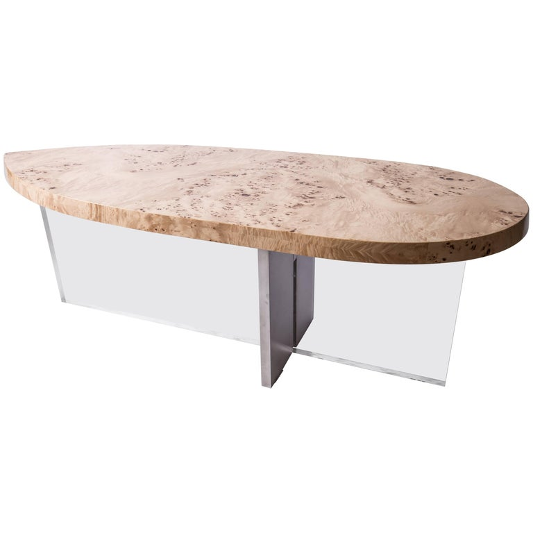 Olive Wood, Acrylic And Steel Surf Board Coffee Table For