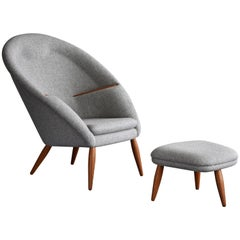 Arnold Madsen, Lounge Chair w ottoman, oak, grey fabric, 1956