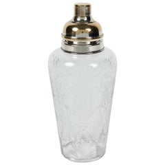 Elegant Etched Crystal and Silver-Plated Cocktail Shaker by Hawkes