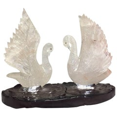 Rock Crystal Swan Group in Pond Centerpiece, Modern Style