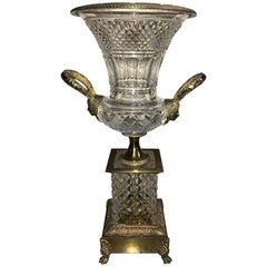 Baccarat Cut Crystal and Bronze Mounted Trumpet Vase, circa 1920