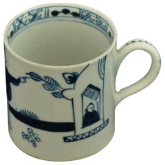 "Coffee Can, Blue and White ""Man at the Window"" Bow Porcelain, circa 1760"