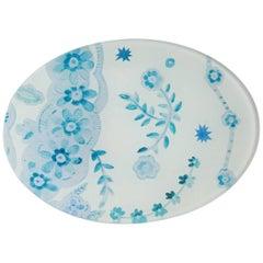 Cathy Graham Decoupage Blue Oval Tray