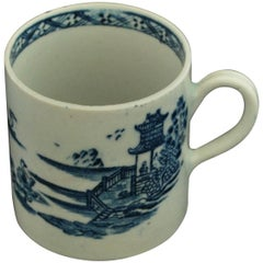 "Coffee Can, Blue and White ""Swans & Pagoda"", Bow Porcelain, circa 1765"
