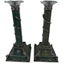 Pair of Antique European Shagreen and Silver Candlesticks