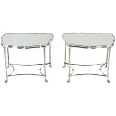 Pair of French Silver Plate and Mirrored-Top Side Tables
