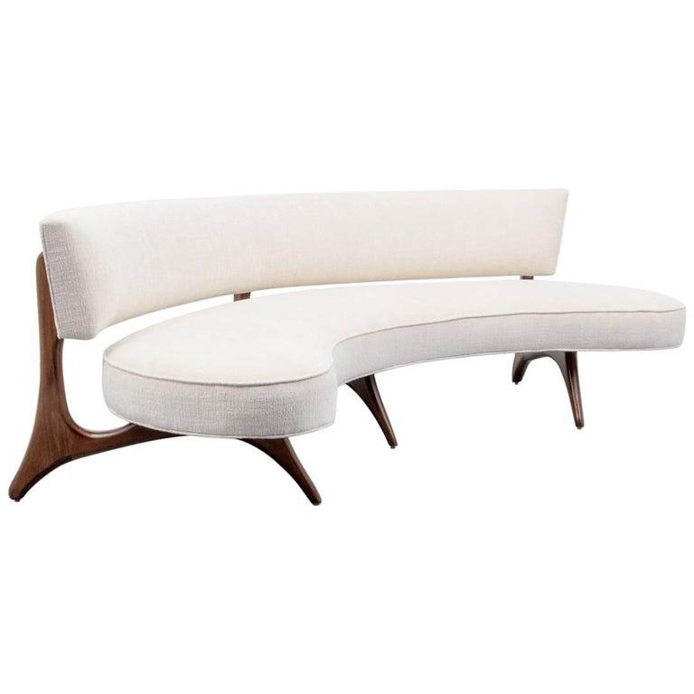 Curved Floating Sofa: Rare Long Sofa At 1stdibs