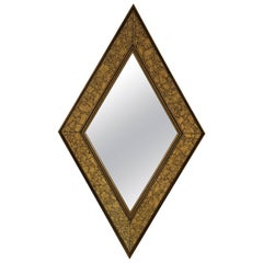 Midcentury Diamond Form Giltwood Mirror