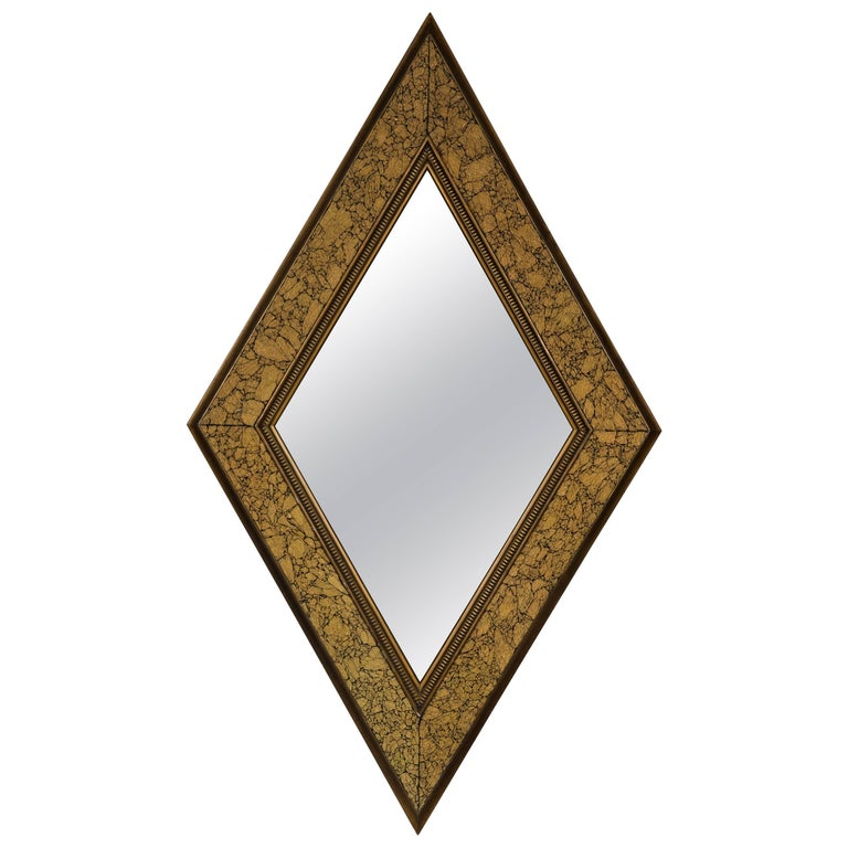 Midcentury Diamond Form Giltwood Mirror For Sale