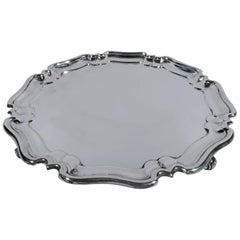 English Georgian-Style Sterling Silver Salver Tray