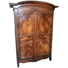 Early 19th Century, French Provincial Walnut and Cherry Armoire