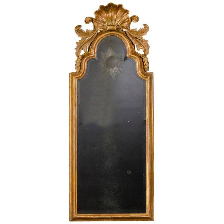 Antique English George II Period Gold Leaf Mirror