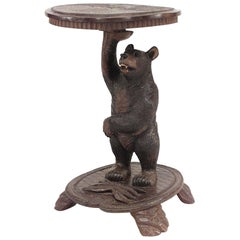 Rustic Black Forest 19th Century Bear Carved Walnut End Table