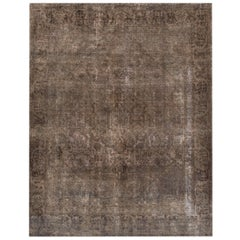Vintage Brown/Gray Distressed Overdyed Carpet