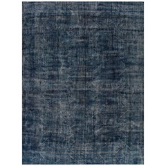 Large Vintage Blue/Gray Distressed Overdyed Carpet