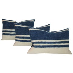 Collection of Three Striped  Alpaca Indian Weaving Pillows