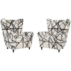 Italian Wingback Chairs Covered in Kelly Wearstler Textile