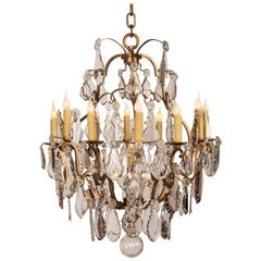 Antique French Louis XV Style Crystal Chandelier with Sixteen Lights, circa 1900