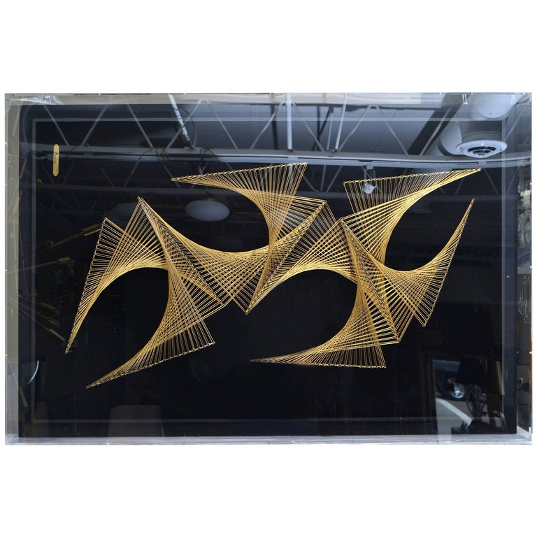 Monumental Geometric Filography Art Enclosed in Acrylic