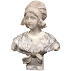 19th Century French Carved Two-Tone Marble Bust Sculpture of Young Beauty