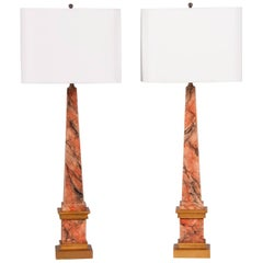 Pair of Vintage Faux Marble and Gilded Obelisks, circa 1900 Now Mounted as Lamps