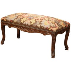19th Century French Louis XV Carved Walnut Bench with Original Tapestry