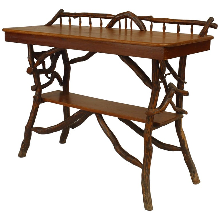 American Rustic Adirondack Serving Table For Sale