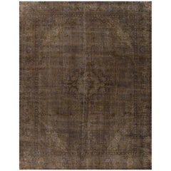 Vintage Brown Gray Distressed Overdyed Carpet