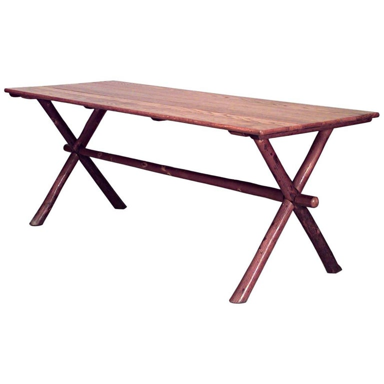 American Rustic Old Hickory Oak Top Rectangular Dining 'Picnic' Table