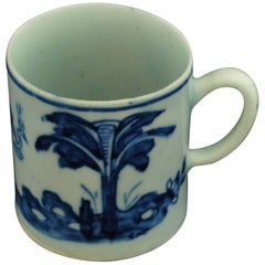 "Coffee Can: Blue and White ""Stork & Banana Tree"". Bow Porcelain C1753"