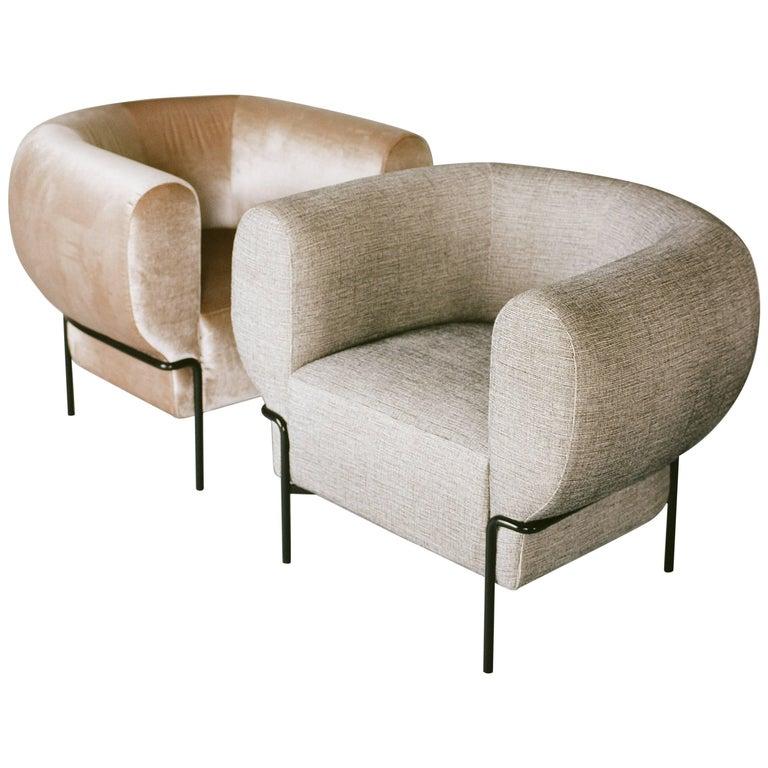 Contemporary Madda Lounge Chair in Pixel Phantom Velvet