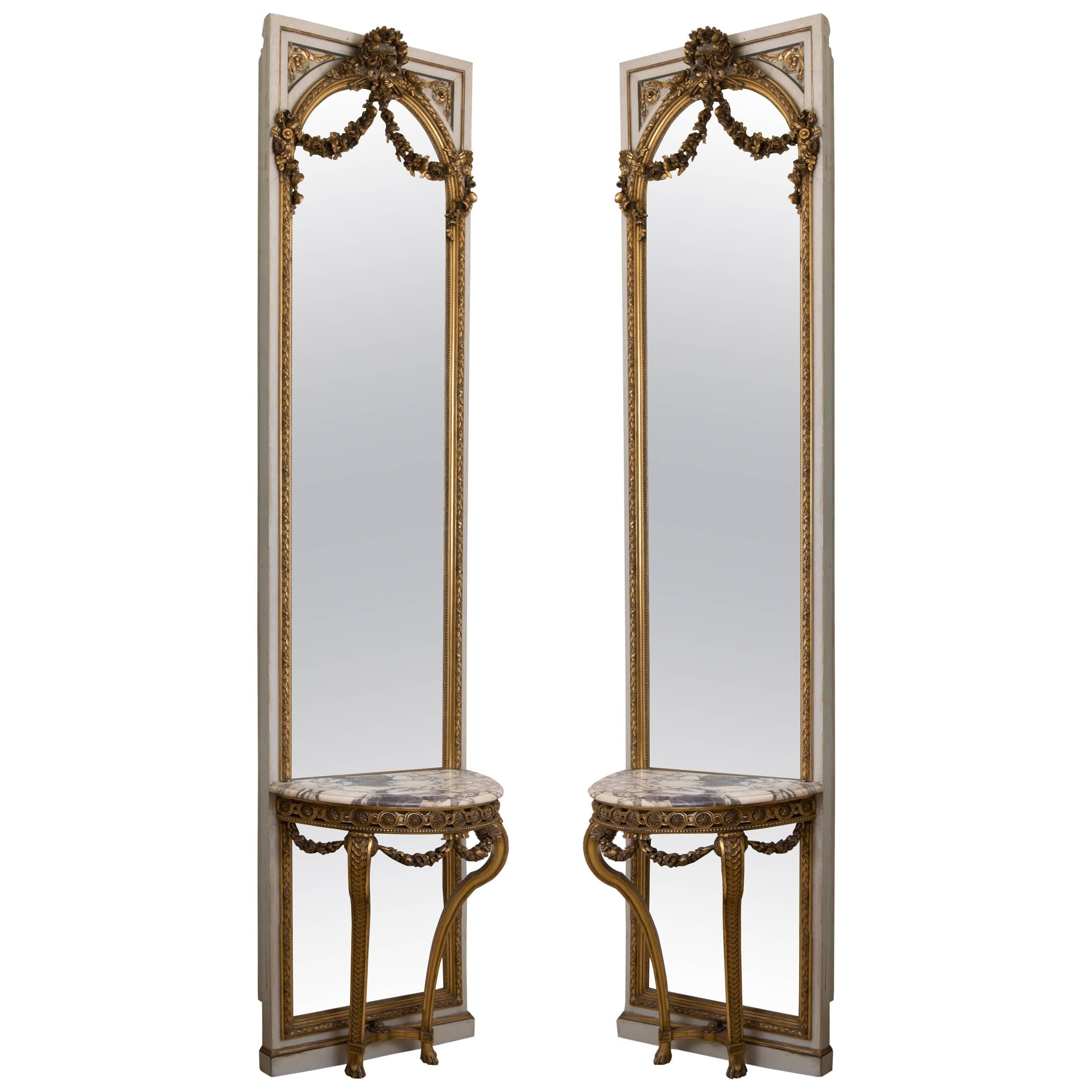 Pair of French Parcel-Gilt and Painted Consoles and Mirrors, 19th Century