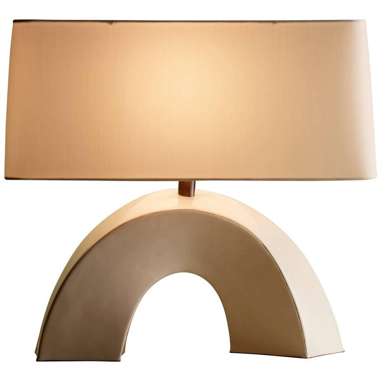 Twisted Arch Table Lamp, Cream Lacquer by Robert Kuo, Limited Edition, in Stock