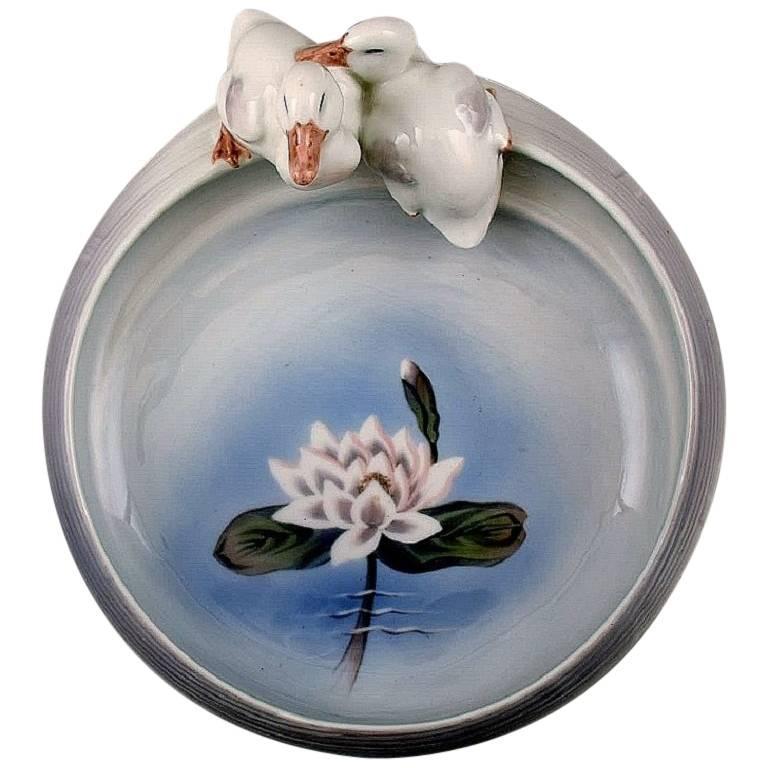 Rare Royal Copenhagen Art Nouveau Dish with Ducks, Number 1/358