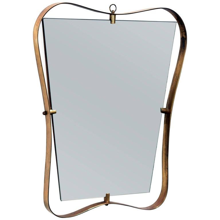Fontana Arte, Small Brass Mirror, 1950s, Italian